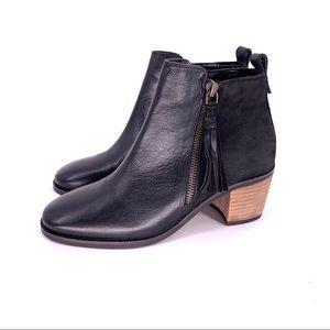 CREVO Autumn Tassel Women's Leather Ankle Boot BLK